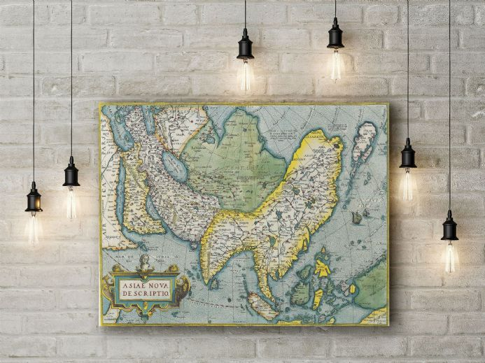 Abraham Ortelius: Map of Asia. Fine Art Canvas.